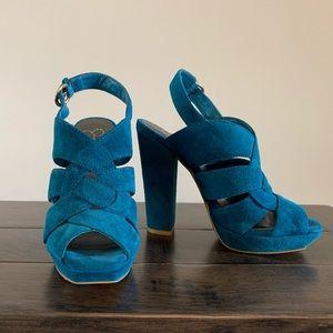 NWOT Jessica Simpson Turquoise Suede Block Heels